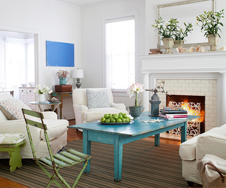 Add a pop of color to certain areas in your space