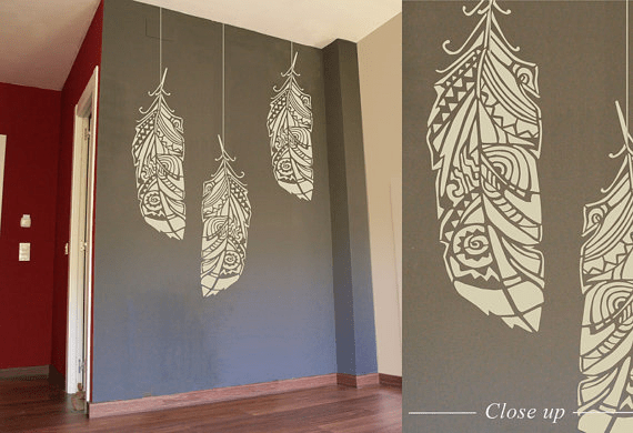 Forest Feather Wall Stencil