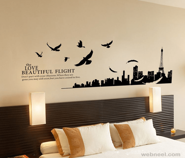 Wall Painting Ideas With City And Birds